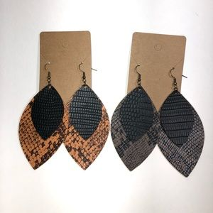 Snake print earrings out of faux leather